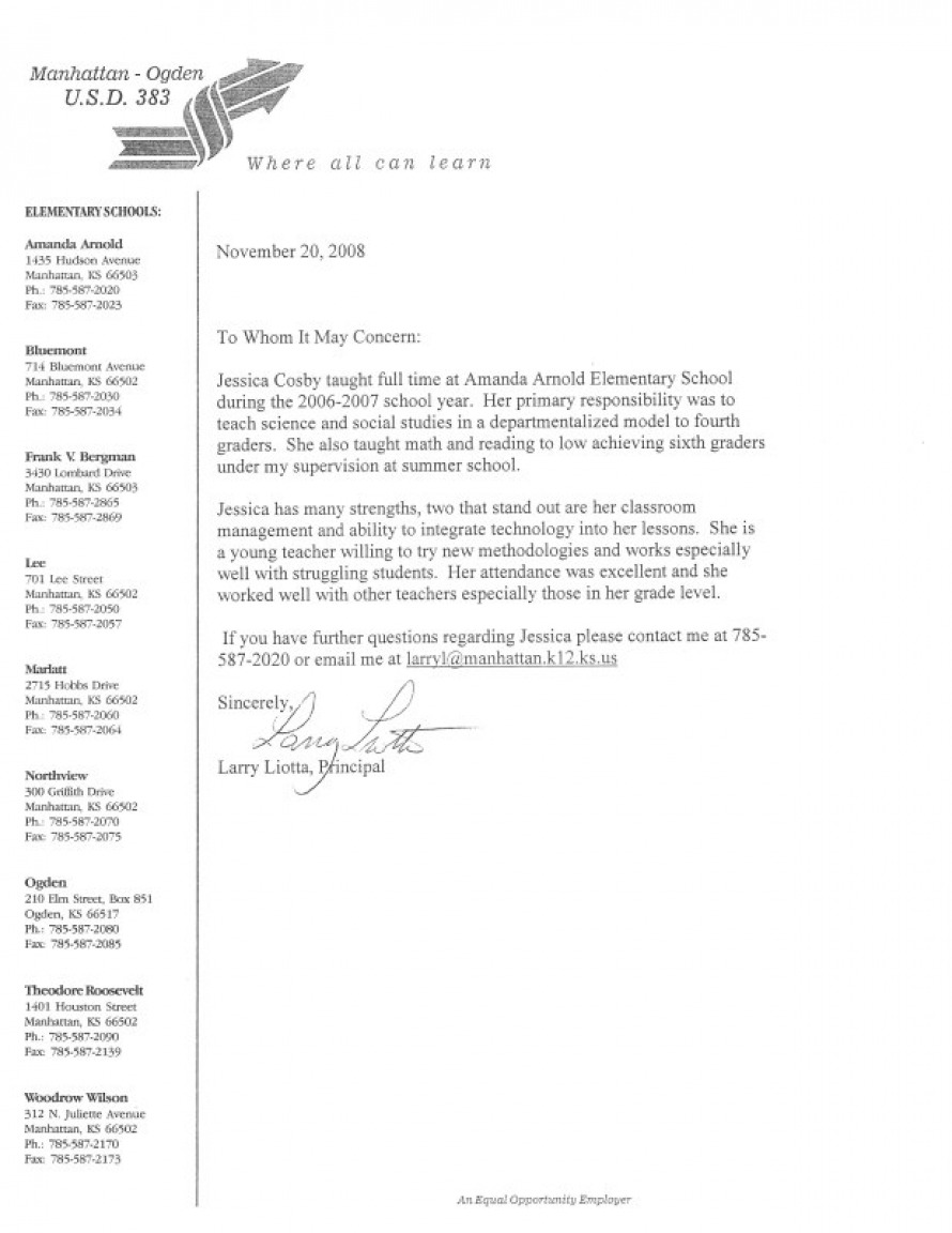letter of recommendation from principal for teacher principal