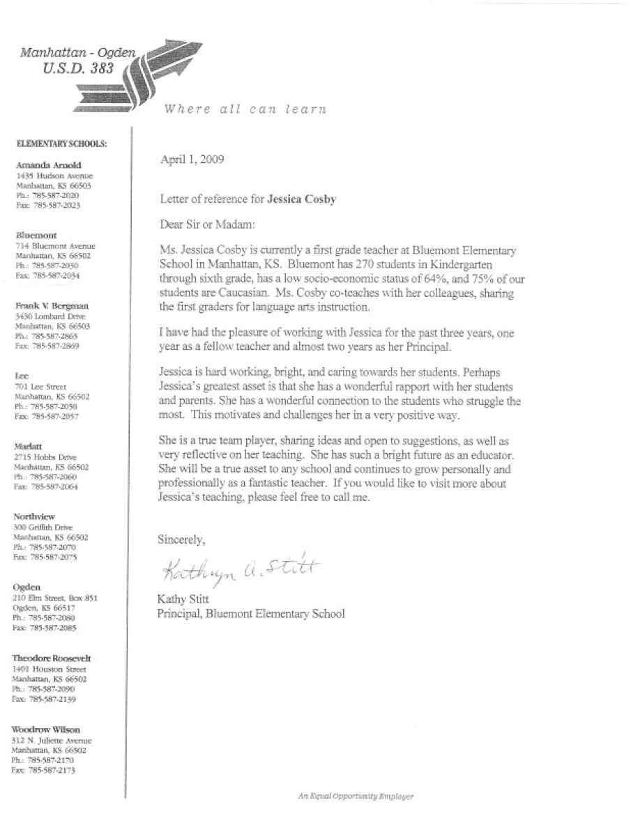Principal Reference Letter 1 - Elementary and ESL Teacher Helping ...